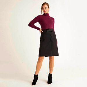 Boden Belted A-Line Black Skirt Plus Size 10 16